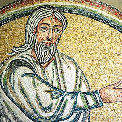 Abraham mosaic detail from lunette above bronze portal.
