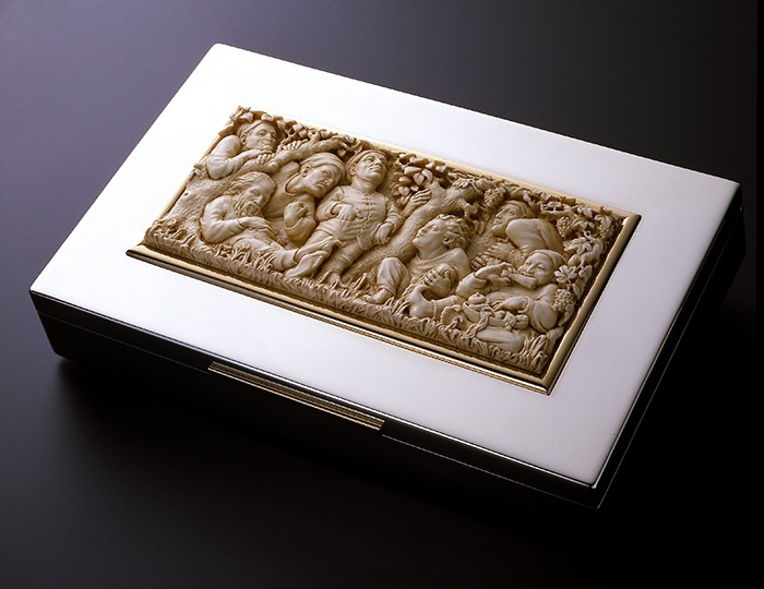The Seven Deadly Sins (1982), ivory plaque by Jill Burkee & Giancarlo Biagi, mounted on silver box by Rulli.