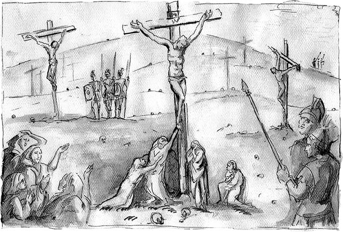 The Crucifixion on the Calvary by Jill Burkee Giancarlo Biagi watercolor on rag paper