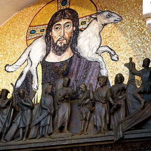 The Good Shepherd, mosaic detail from lunette above bronze portal.