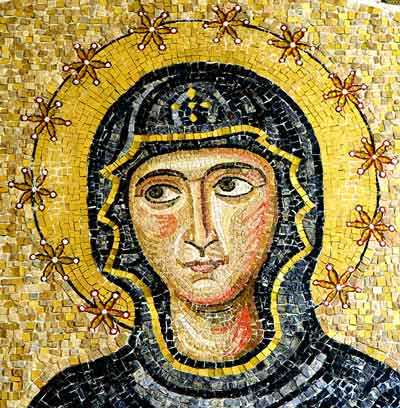 Mary mosaic detail from lunette above bronze portal.