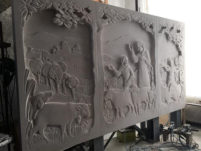 St. Vianney Triptych carving in Jill Burkee's studio.