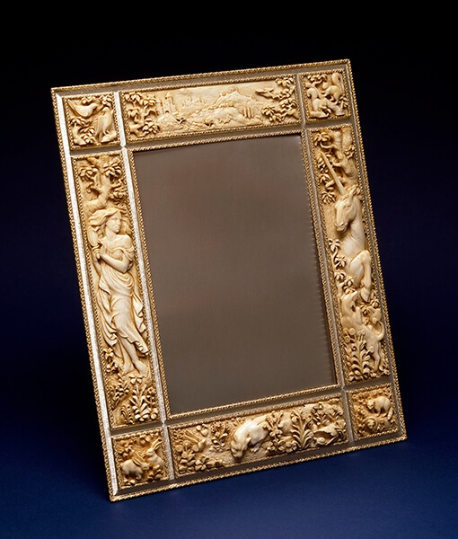 Unicorn Frame (1984), ivory, gold and silver. Commissioned by Luca Buccellati and mounted by GianMaria Buccellati.