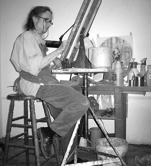 Jill Burkee at her drafting table.